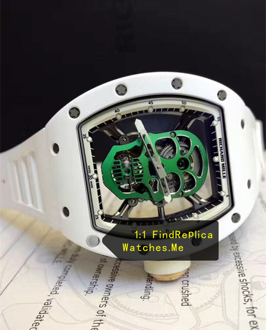 Replica Richard Mille RM 52-01 Green Skull White Ceramic Bezel