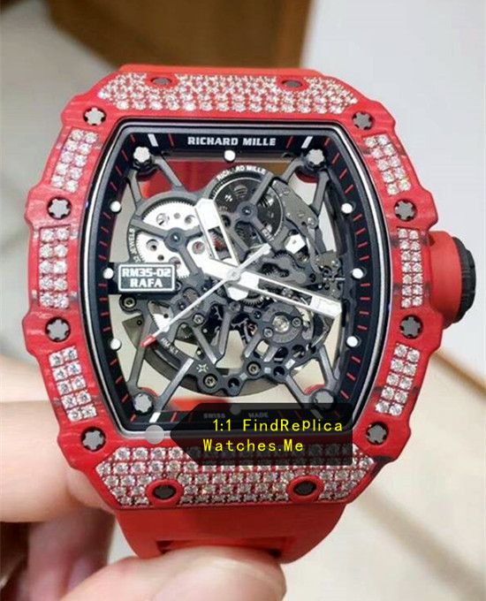 Super Collection Richard Mille RM 35-02 Red With White Diamond