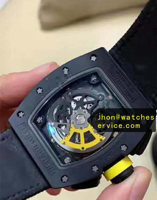Yellow Letters Richard Mille RM011-FM Black Ceramic replica watch