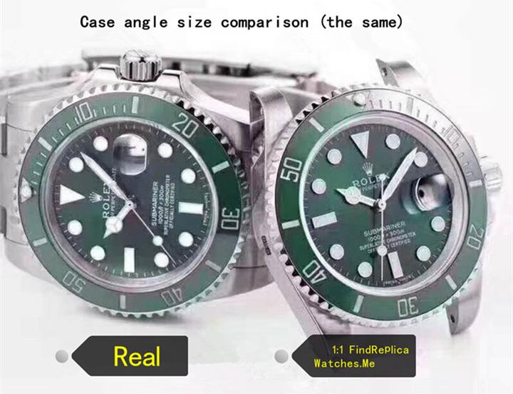 Real vs fake rolex submariner case angle size comparison