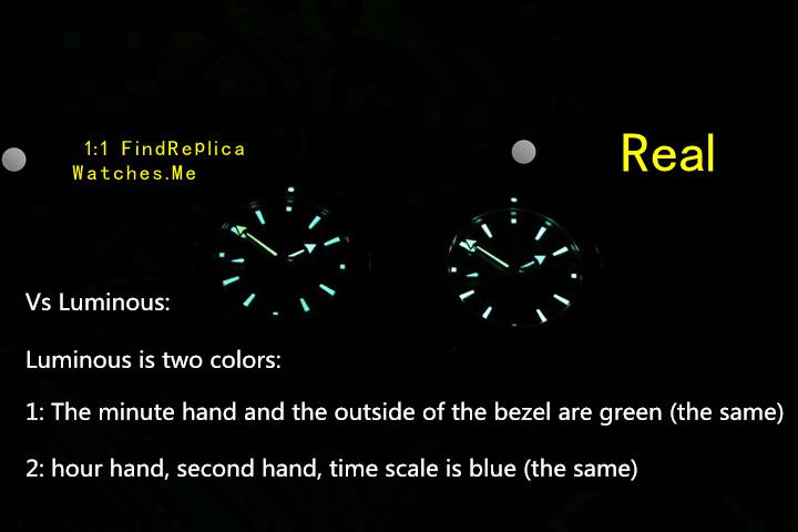 Real vs replica rolex submariner luminous