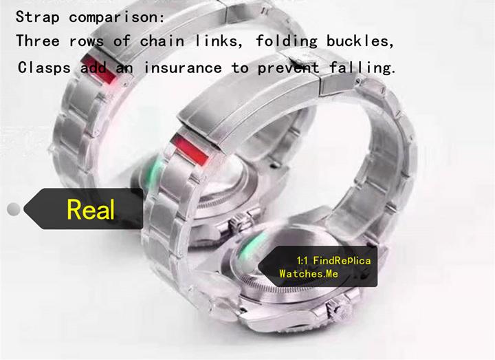Real vs replica rolex submariner strap comparison