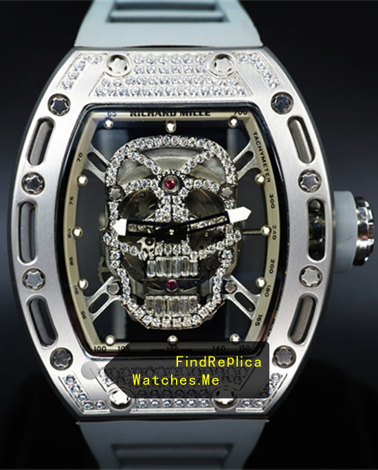 Replica Richard Mille RM 052 Skull Silver Diamonds Watch