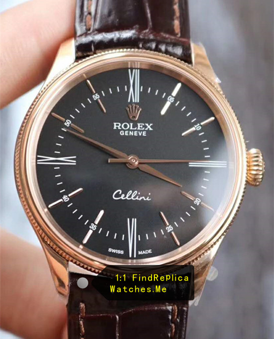 Rolex Cellini 50505 39MM Black Face With Brown Cowhide Strap