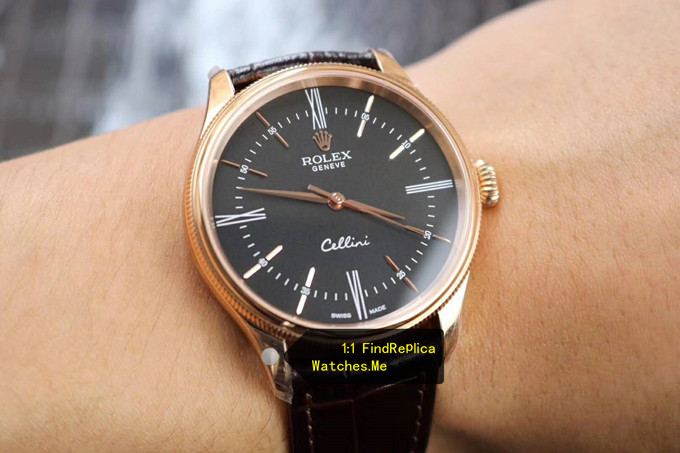 Fake Rolex Cellini 50505 39MM Black Face on the Wrist