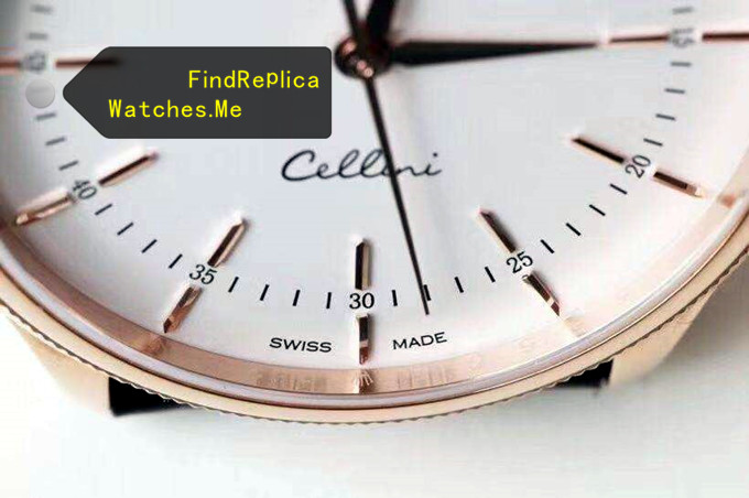 Fake Rolex Cellini 50505 18k-Gold Double Ring HD Face detail