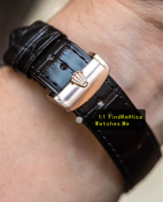 Replica Rolex Cellini m50535-0002 black Crocodile skin strap