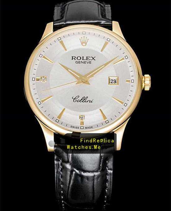 Rolex Cellini m50505 White Face 18k-Gold Bezel Date Watch