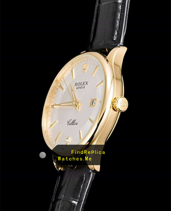 Replica Rolex Cellini m50505 White Face 18k-Gold Bezel Date Watch