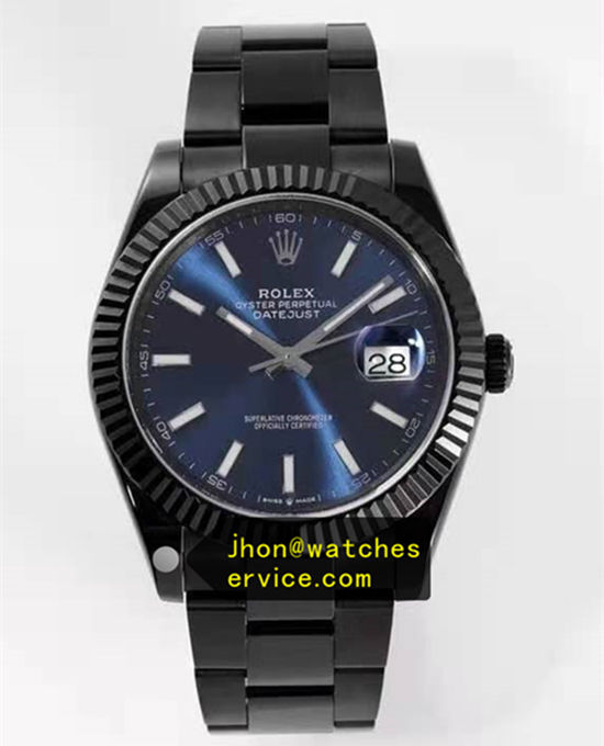 Blue Dial Black PVD Steel 41MM Rolex Datejust m126334 replica watch