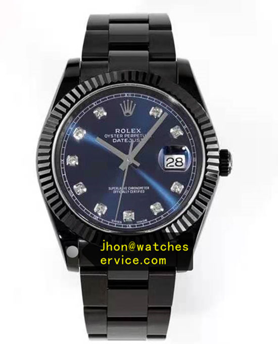 Blue Roman Black PVD Steel 41MM Rolex Datejust 116300-72213