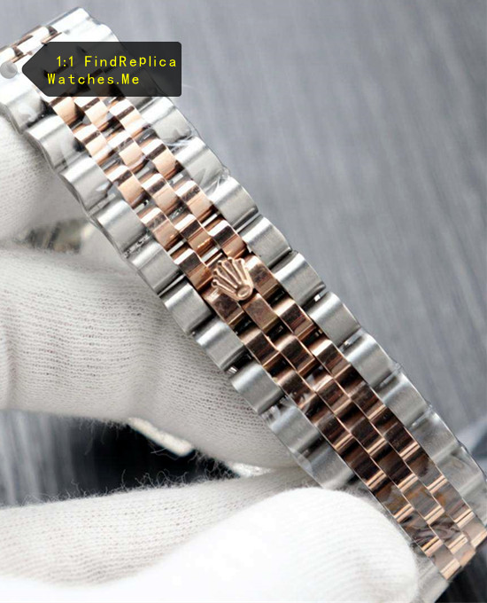 Steel inlay three rows of 18k-Rose-Gold strap
