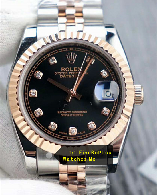 Rolex Datejust m126231-0020 36mm Black Face 18k-CT-Gold Watch