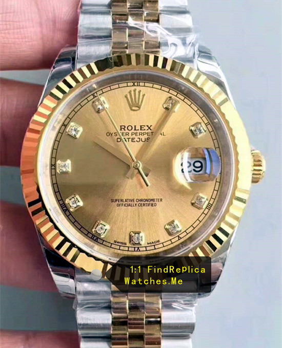 Rolex Datejust 116233 36mm Champagne Gold Face Watch