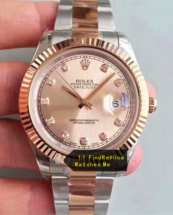 Fake Rolex Datejust 126331 41mm Light Pink Face Watch