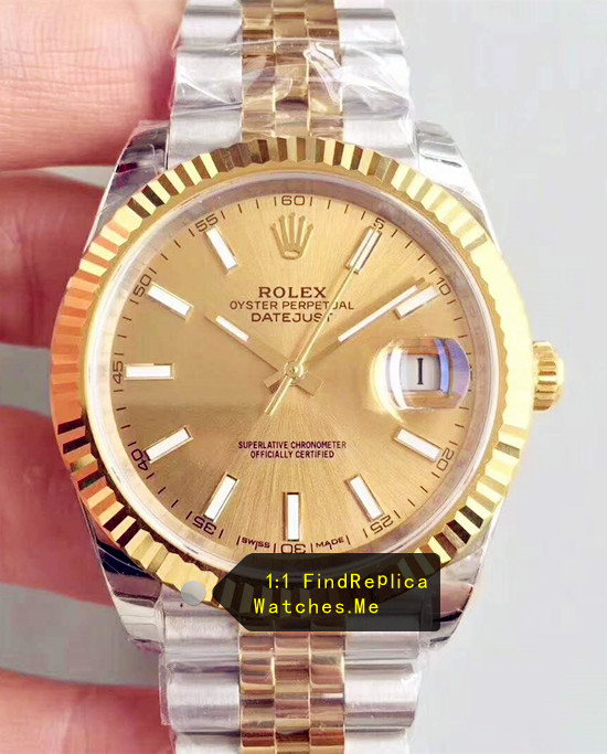 Fake Rolex Datejust 126333-62613 41mm 18k-Gold Face Watch