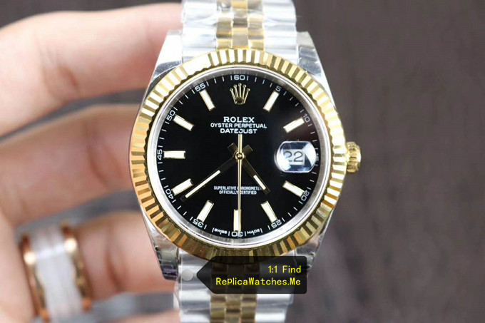 Replica Rolex Datejust 126333 41MM Black Face Triangle Pit Outer Ring