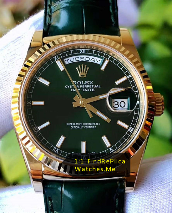 Rolex Daydate 118238 36MM Black Face With Black Strap Watch