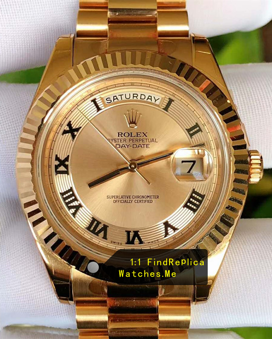 Rolex Daydate 218238 41mm Black Hour Mark 18K-Gold Thread