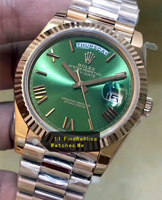 Fake Rolex Daydate 228235 Olive green Face