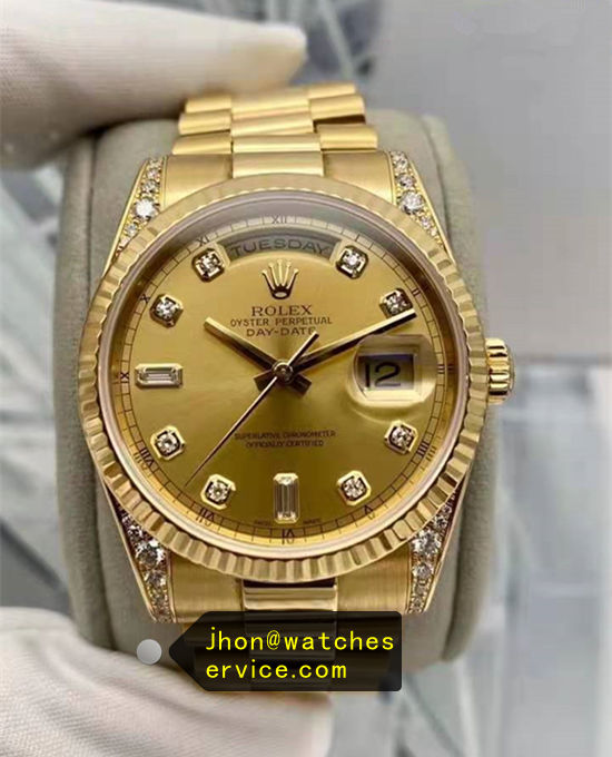 AR Gold Rolex Day-Date 118338 Lugs With Diamonds