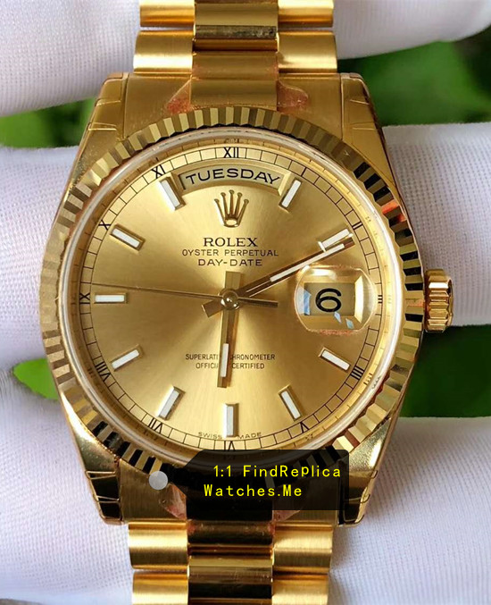 Rolex Daydate 118238 36mm Diameter 18k-Gold Watch