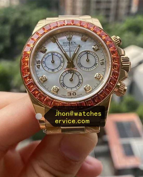 AR Orange Square Moissanite Rolex Daytona Gold