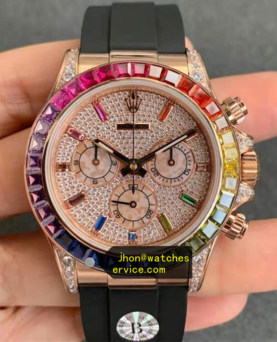 AR Rainbow Moissanite Rose Gold Rolex Daytona