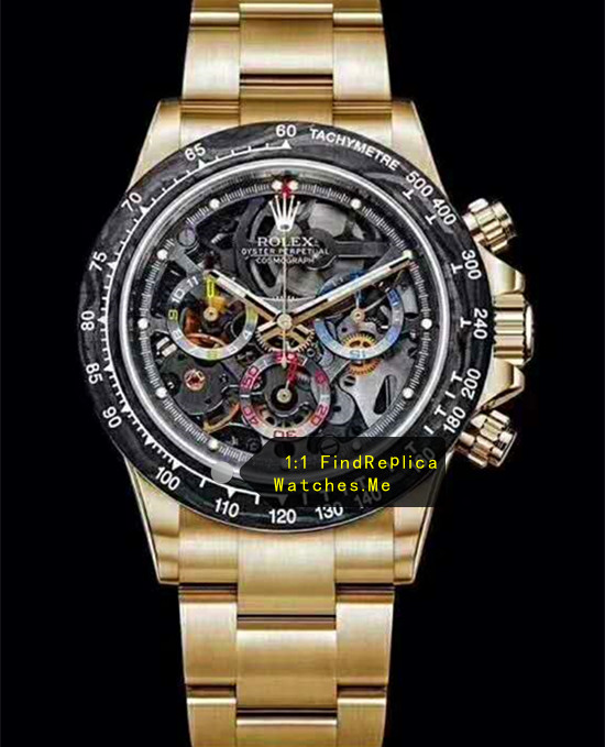 Rolex Daytona Latest Carbon Fiber Chronograph 18k-Gold Watch