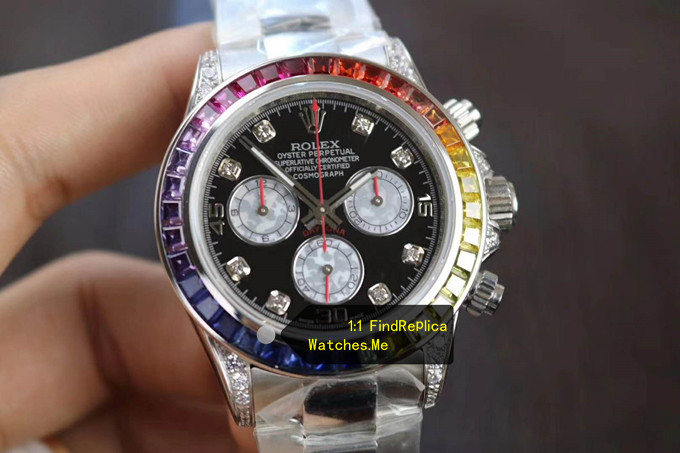 Fake Rolex Daytona 116599 RBOW Colored Diamond Bezel White-Gold watch