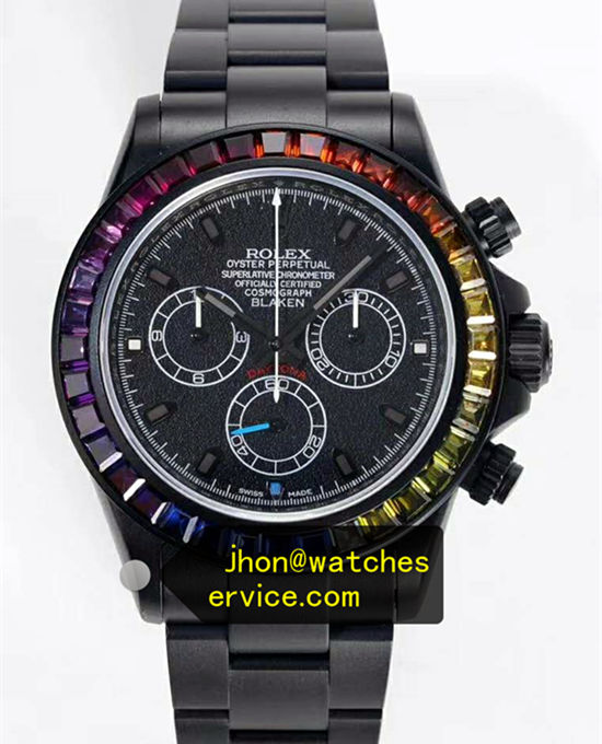 Rainbow Circle Black PVD Rolex Daytona
