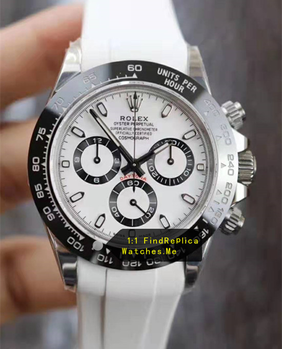 Rolex Daytona 116500LN-78590 White Face With White Rubber Strap