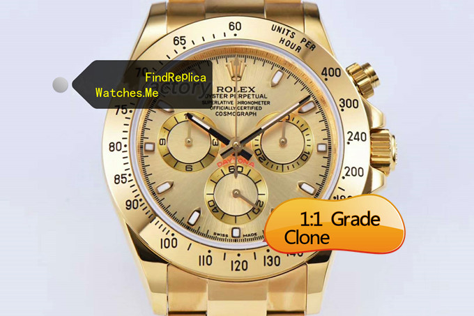 Replica Rolex Daytona 116508 40MM 18K-Gold Chronograph face