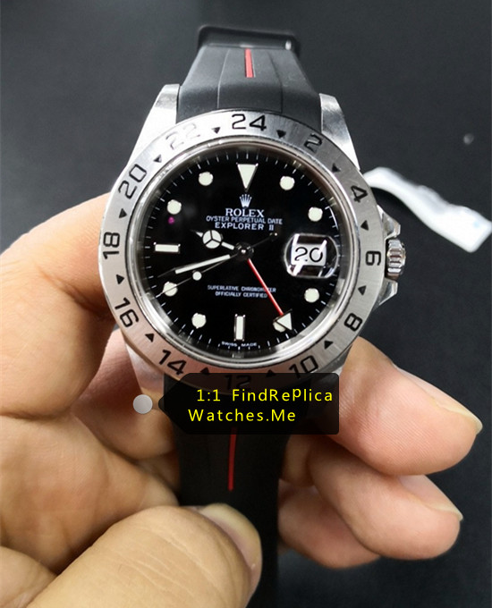 Rolex Explorer 16570 Black 40MM Face With Black Rubber Strap