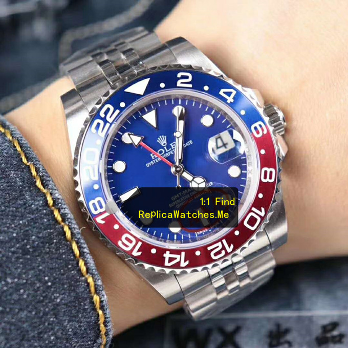 Replica Rolex GMT Master 116719 Blue Face with Red Blue ceramic Bezel on the Wrist