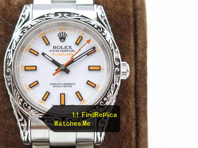 Replica Rolex Milgauss 116400-72400 Carving Art Bezel With White Face