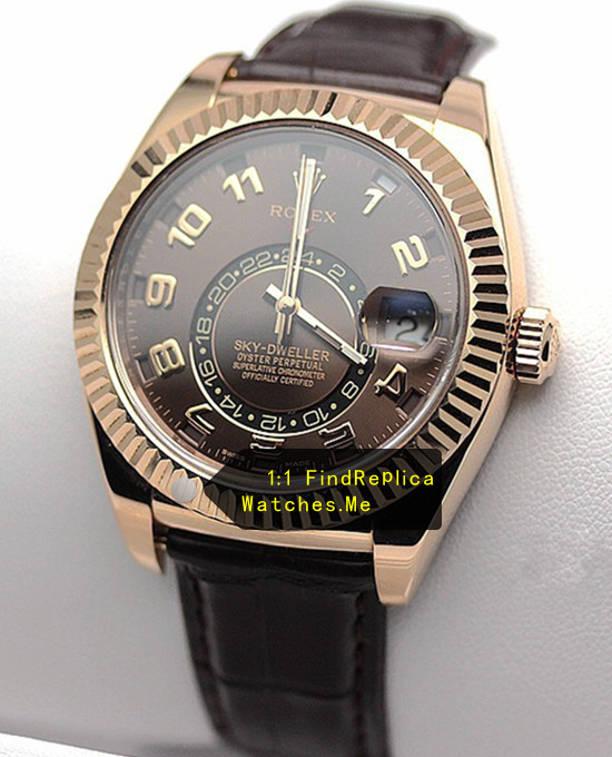 Replica Rolex Sky Dweller 326935 Chocolate Face With 18CT Rose Gold
