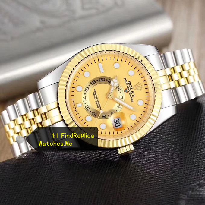 Replica Rolex Sky Dweller Gold Face With Stainless Steel