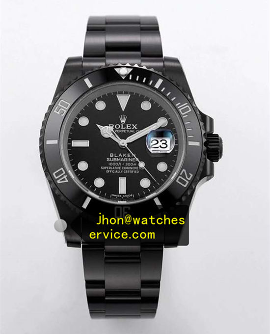 Black PVD Steel Blaken Rolex Submariner White Letter
