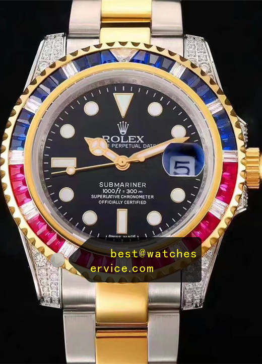Blue Red Diamonds Rolex Submariner Steel Inlaid With Gold