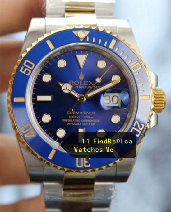 Rolex Submariner 116613LB-97203 Navy Blue Face 18K-Gold-Steel-Bezel