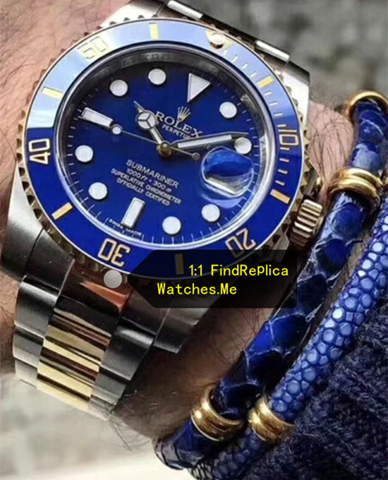 Fake Submariner 116613LB-97203 Navy Blue Face watch on the Wrist