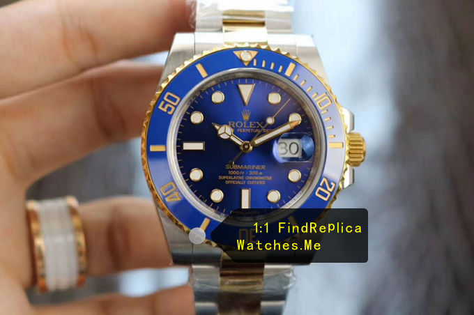 Fake Submariner 116613LB-97203 Navy Blue Face with 18K-Gold-Steel Bezel
