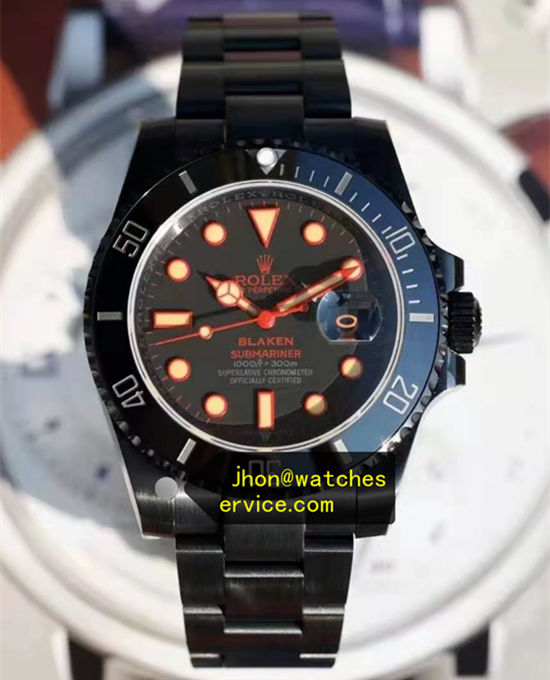 Orange Letters Black PVD Steel Blaken Rolex Submariner