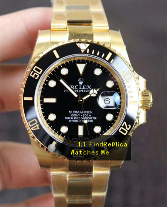 Replica Rolex Submariner 116618LN-97208 18K-Gold Black Face N Factory