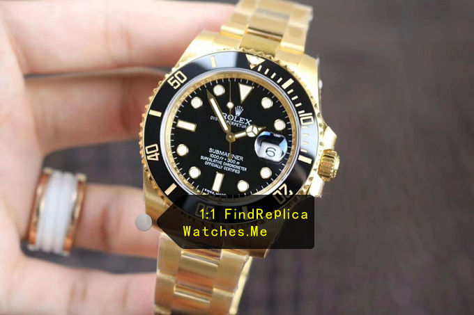 Replica Rolex Submariner 116618LN-97208 18K-Gold Black Face