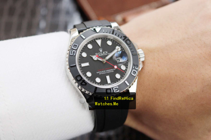 Replica Rolex Yachtmaster 116655 White Gold on the Wrist