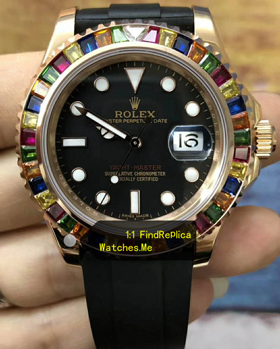 Rolex Yachtmaster 116695SATS Colored Diamond Super N-Replica-watches-Factory