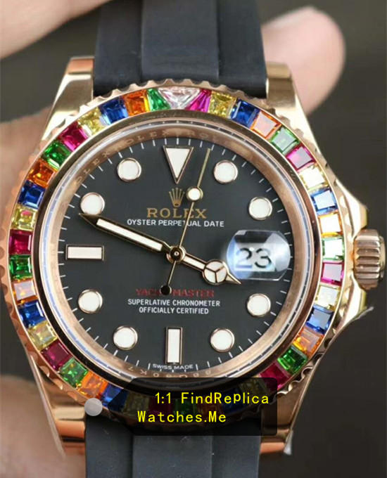 Rolex Yachtmaster 116695SATS Colored Diamond With 18K-Gold