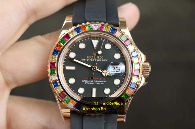 Replica Rolex Yachtmaster 116695SATS Colored Diamond With 18K-Gold